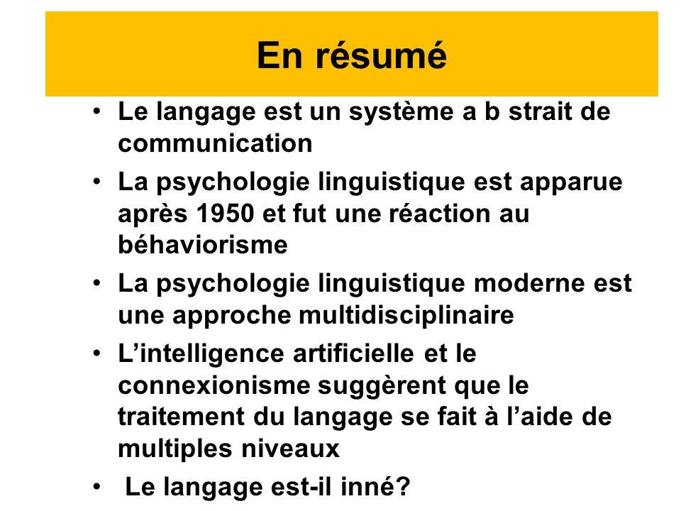 En résumé Le langage est un système a b strait de communication