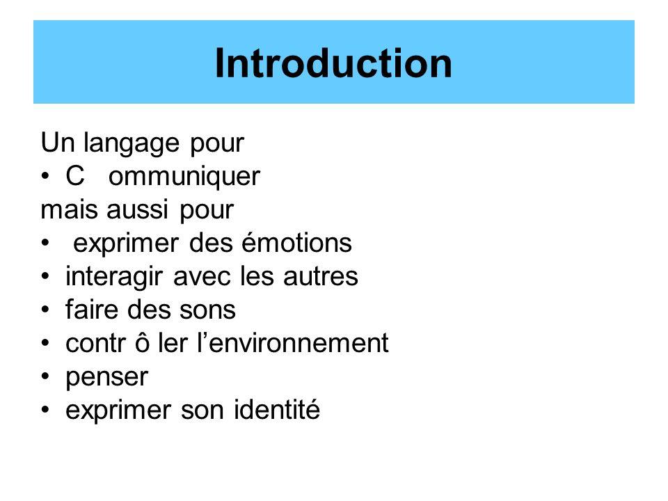 Introduction Un langage pour C ommuniquer mais aussi pour