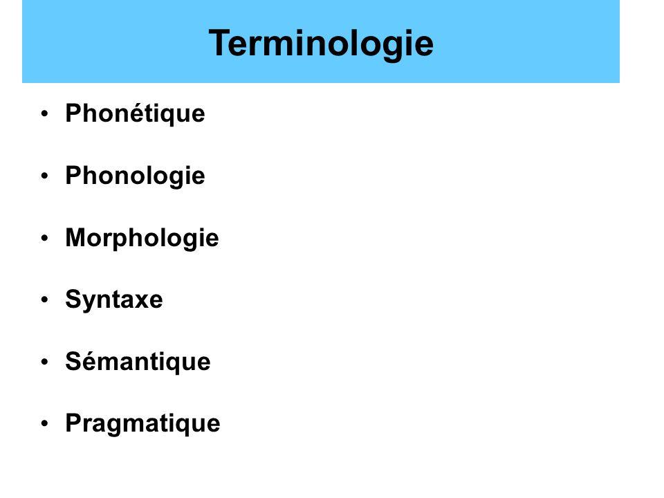 Terminologie Phonétique Phonologie Morphologie Syntaxe Sémantique