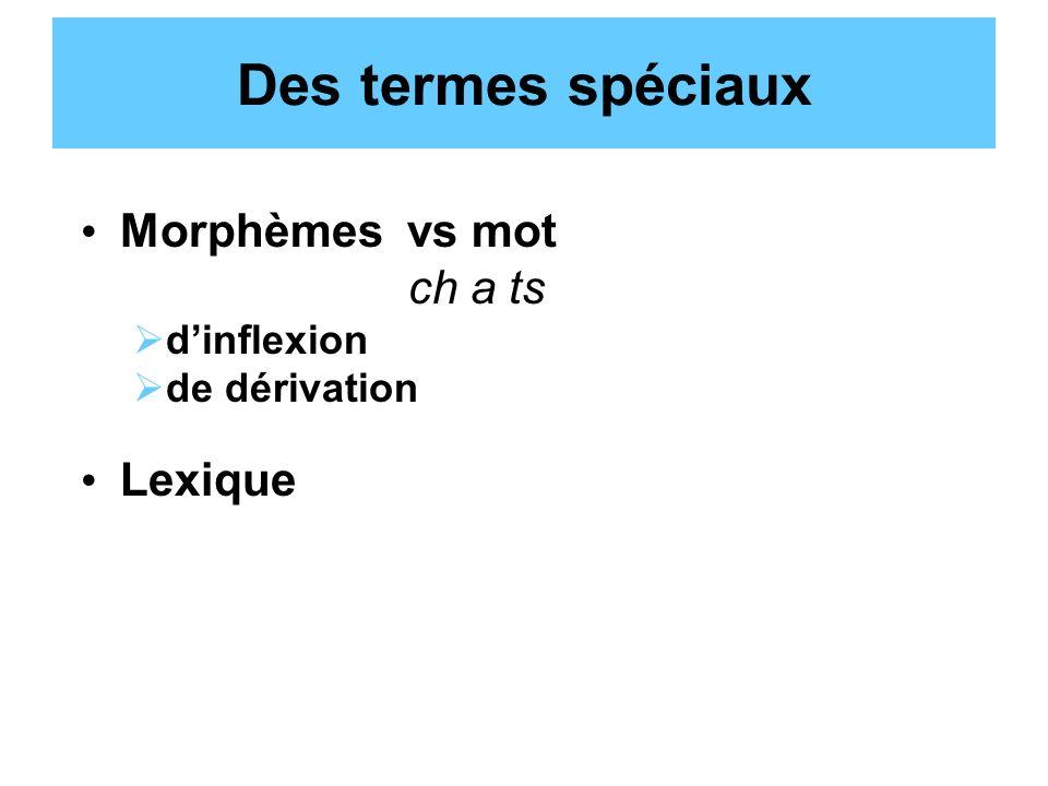 Des termes spéciaux Morphèmes vs mot ch a ts Lexique d'inflexion