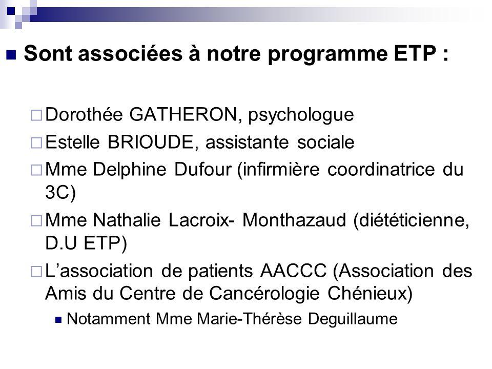 Sont associées à notre programme ETP :