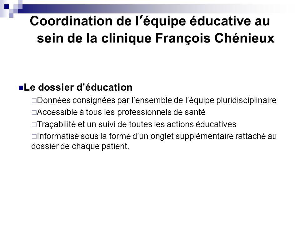 Coordination de l'équipe éducative au sein de la clinique François Chénieux