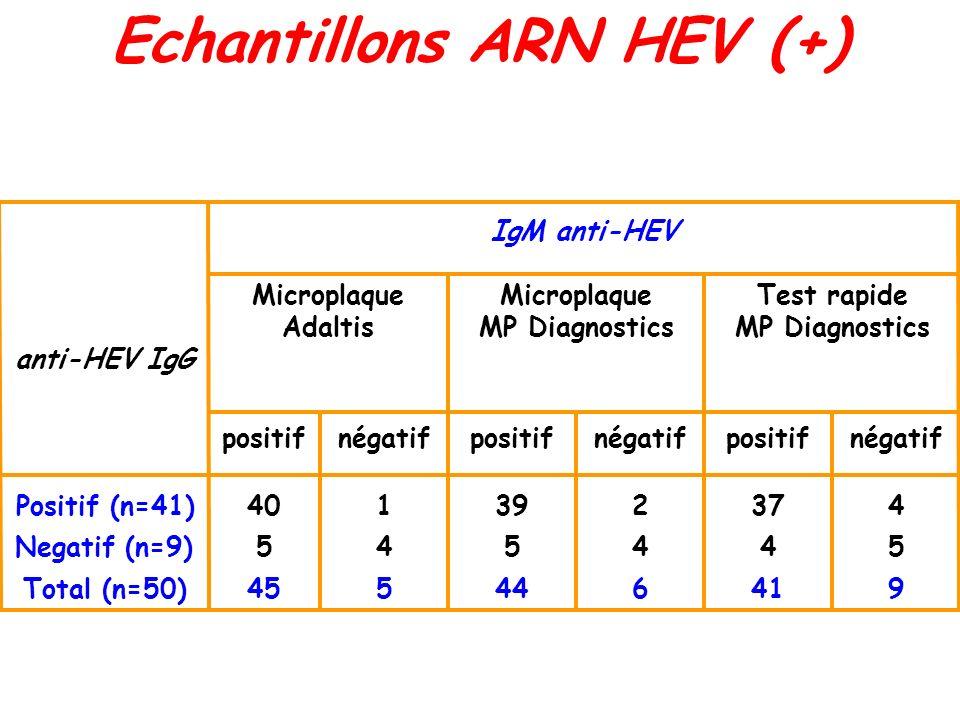 Echantillons ARN HEV (+)