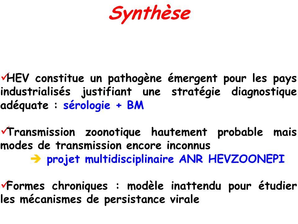 Synthèse HEV constitue un pathogène émergent pour les pays industrialisés justifiant une stratégie diagnostique adéquate : sérologie + BM.