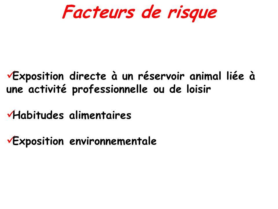 Facteurs de risque Exposition directe à un réservoir animal liée à une activité professionnelle ou de loisir.