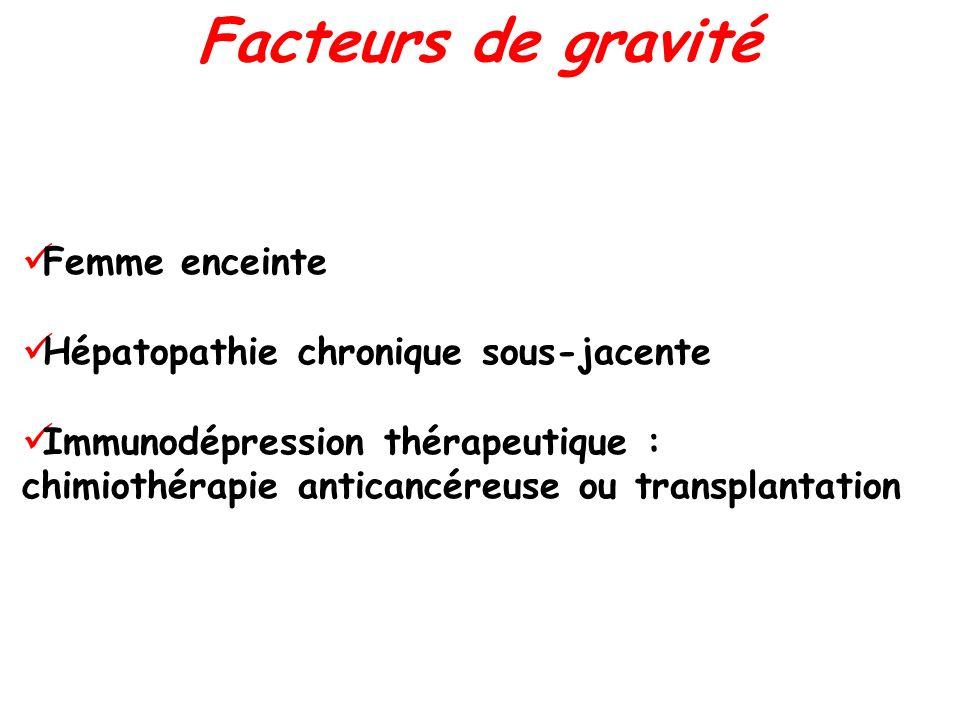 Facteurs de gravité Femme enceinte Hépatopathie chronique sous-jacente