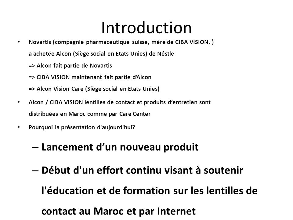 Introduction Lancement d'un nouveau produit