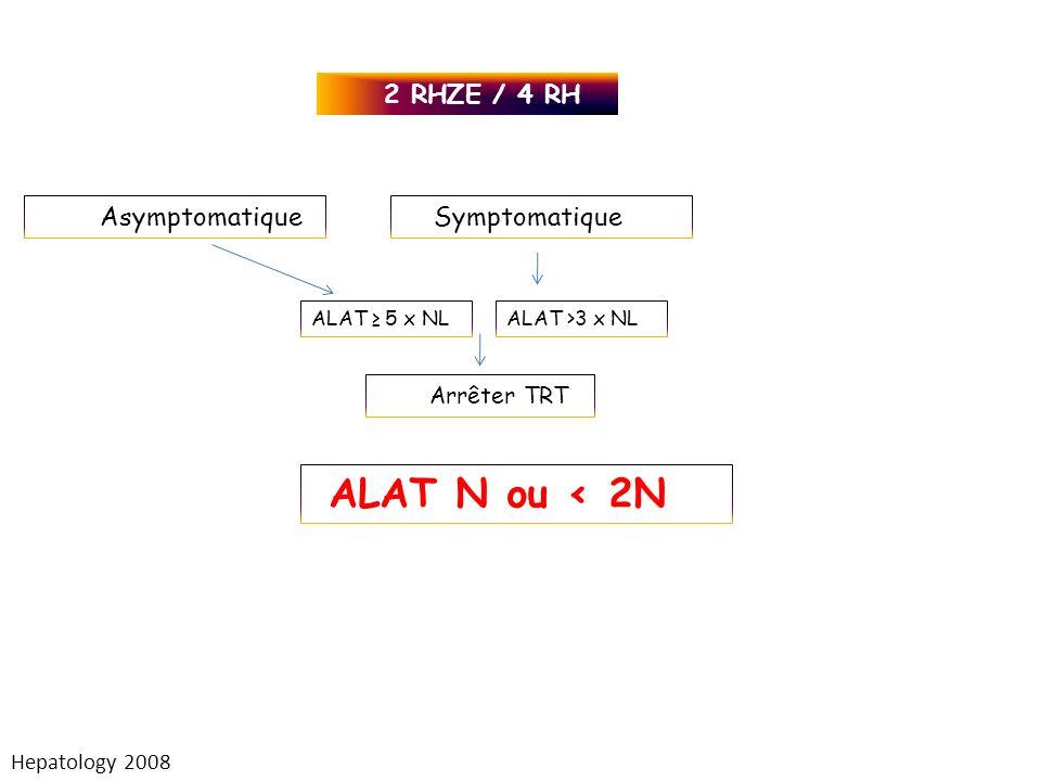 ALAT N ou < 2N 2 RHZE / 4 RH Asymptomatique Symptomatique