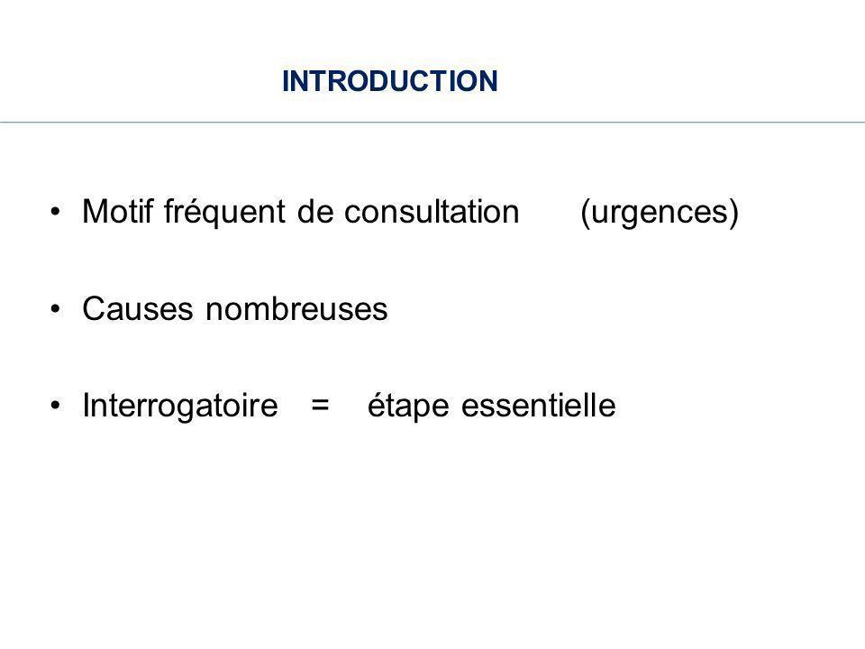 INTRODUCTION Motif fréquent de consultation (urgences) Causes nombreuses.