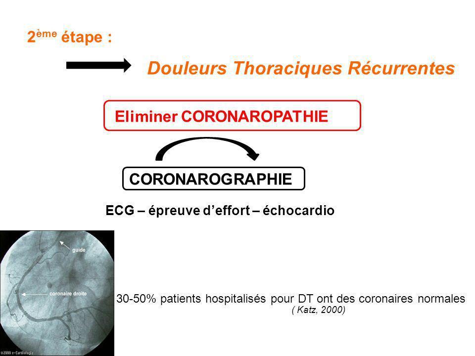 2ème étape : Douleurs Thoraciques Récurrentes Eliminer CORONAROPATHIE