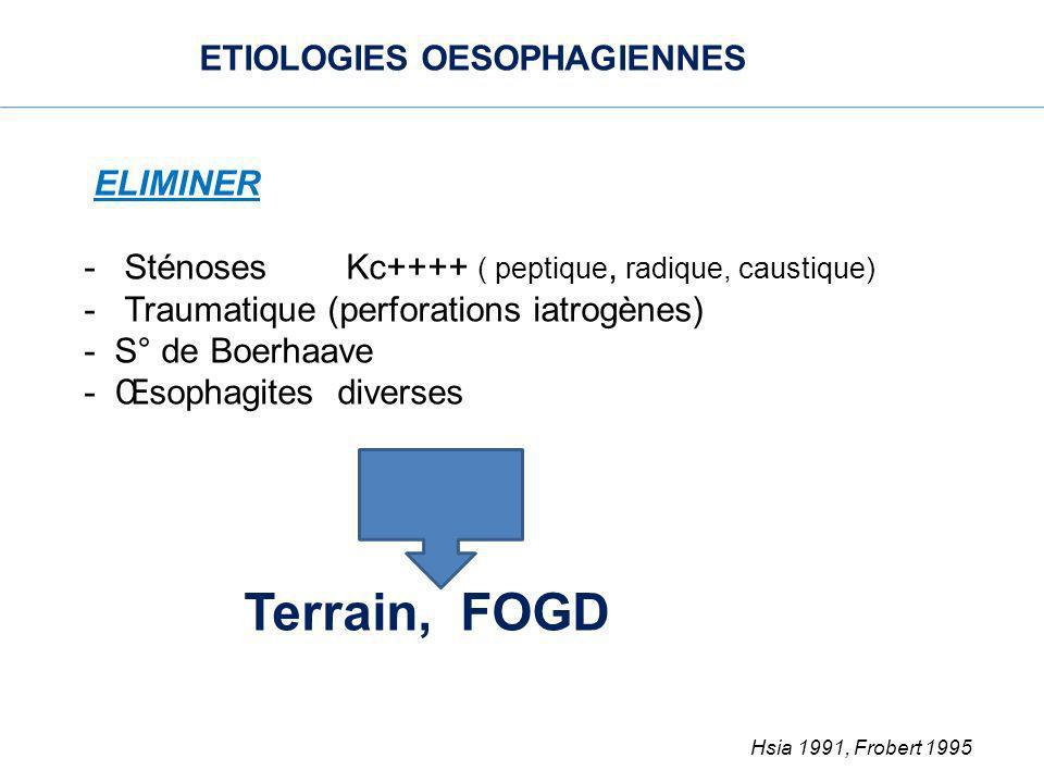 Terrain, FOGD Hsia 1991, Frobert 1995 ETIOLOGIES OESOPHAGIENNES