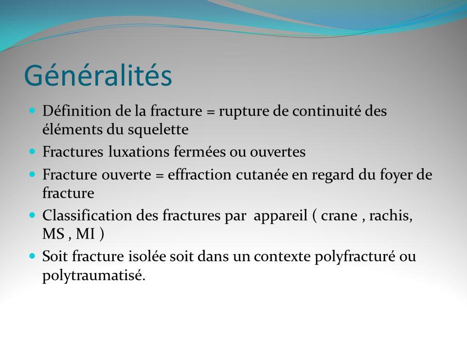 Généralités Définition de la fracture = rupture de continuité des éléments du squelette. Fractures luxations fermées ou ouvertes.