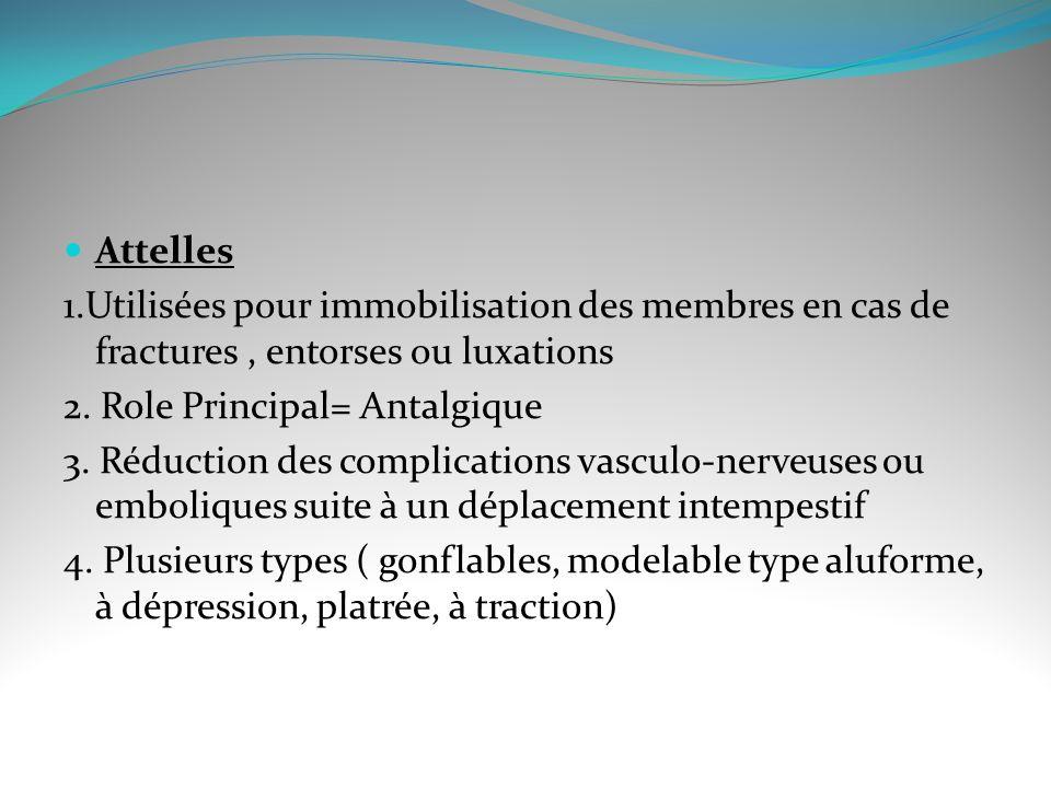 Attelles 1.Utilisées pour immobilisation des membres en cas de fractures , entorses ou luxations. 2. Role Principal= Antalgique.