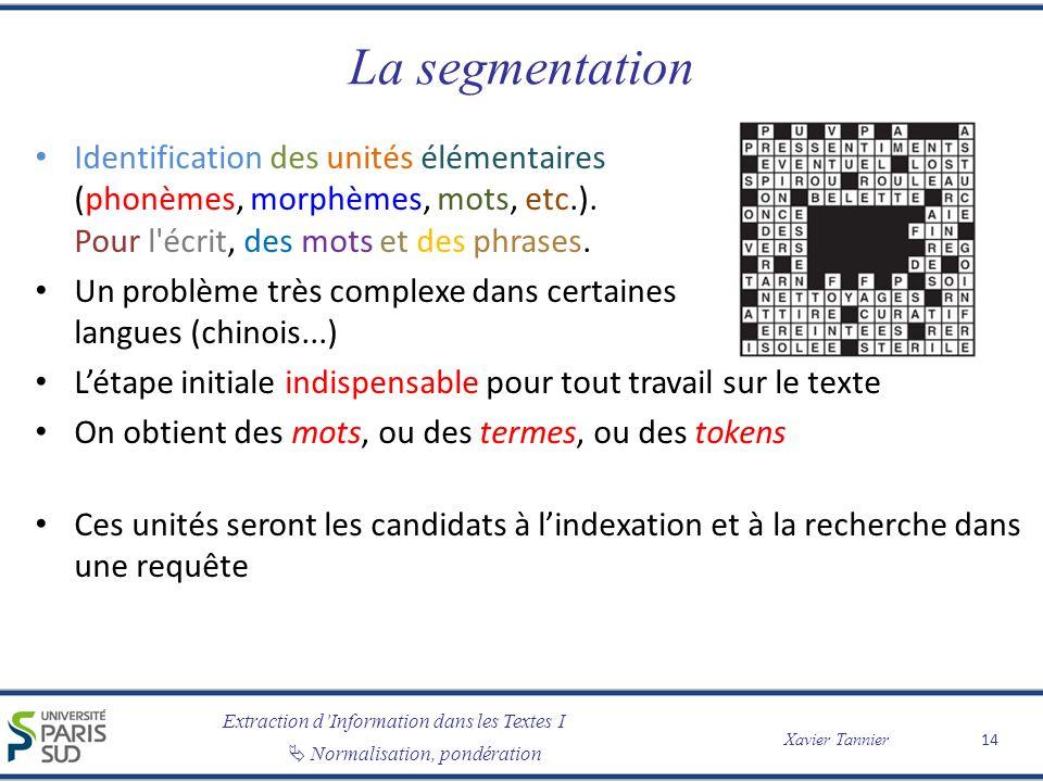 La segmentation Identification des unités élémentaires (phonèmes, morphèmes, mots, etc.). Pour l écrit, des mots et des phrases.