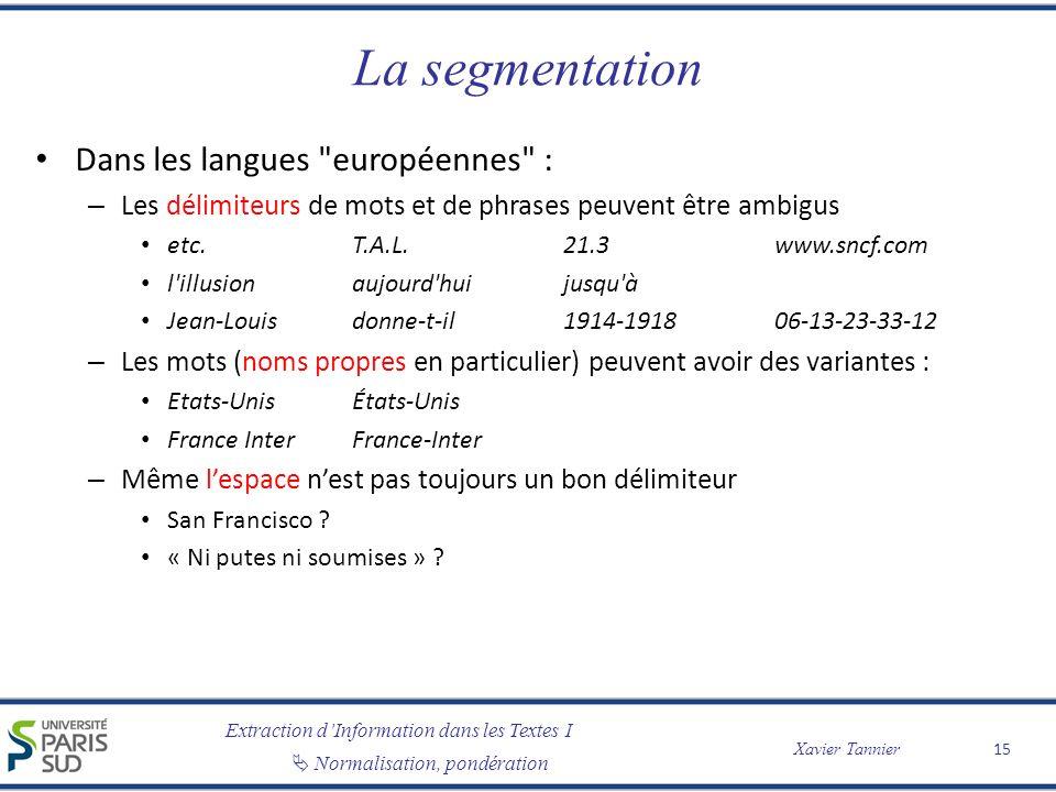La segmentation Dans les langues européennes :