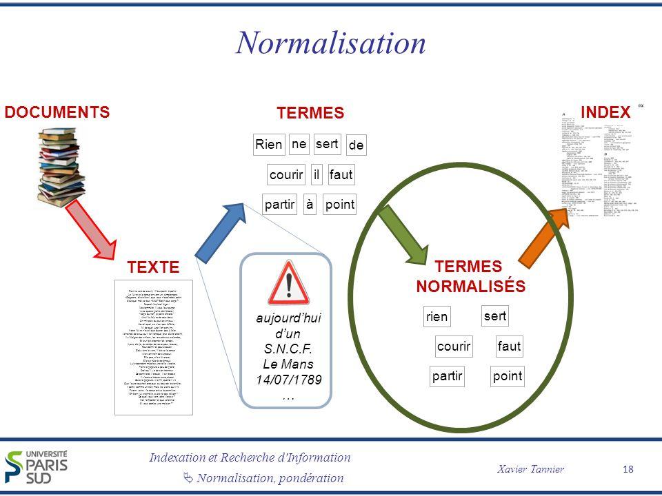 Normalisation DOCUMENTS TERMES INDEX TEXTE TERMES normalisés Rien ne