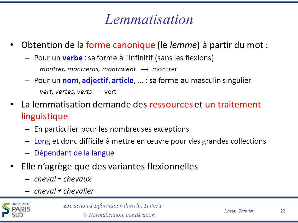 Lemmatisation Obtention de la forme canonique (le lemme) à partir du mot : Pour un verbe : sa forme à l infinitif (sans les flexions)