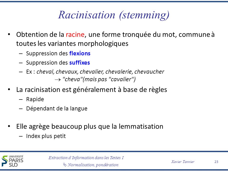 Racinisation (stemming)