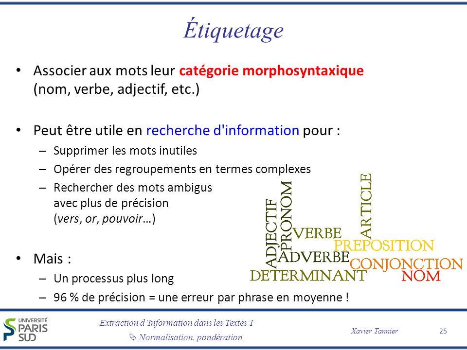 Étiquetage Associer aux mots leur catégorie morphosyntaxique (nom, verbe, adjectif, etc.) Peut être utile en recherche d information pour :