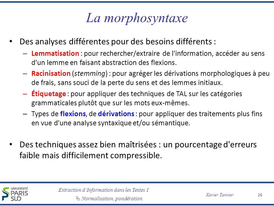 La morphosyntaxe Des analyses différentes pour des besoins différents :