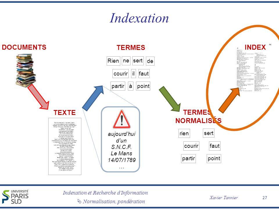 Indexation DOCUMENTS TERMES INDEX TEXTE TERMES normalisés Rien ne sert