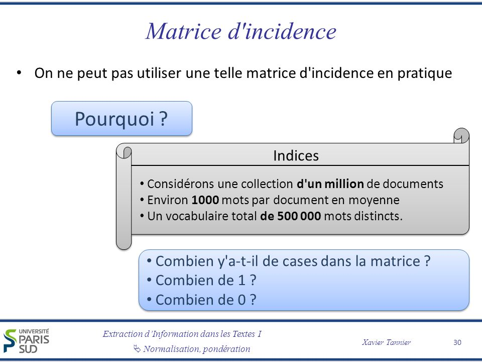 Matrice d incidence Pourquoi
