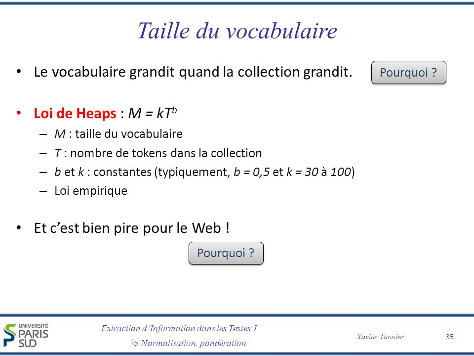 Taille du vocabulaire Le vocabulaire grandit quand la collection grandit. Loi de Heaps : M = kTb. M : taille du vocabulaire.