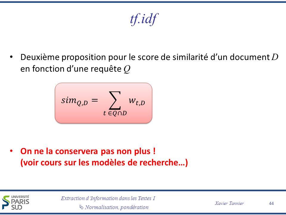tf.idf Deuxième proposition pour le score de similarité d'un document D en fonction d'une requête Q.