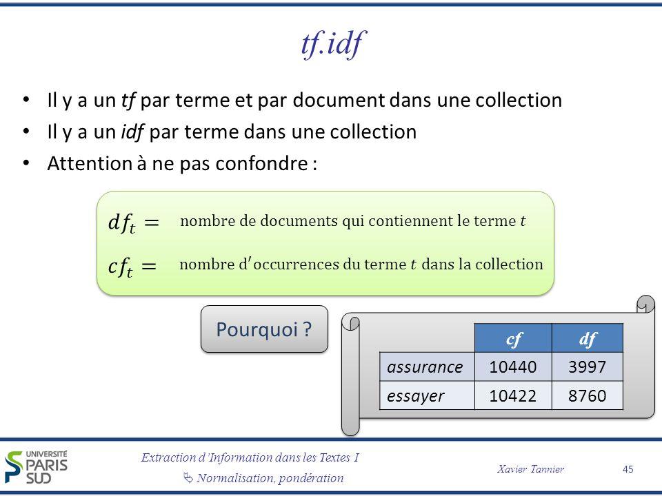 tf.idf Il y a un tf par terme et par document dans une collection