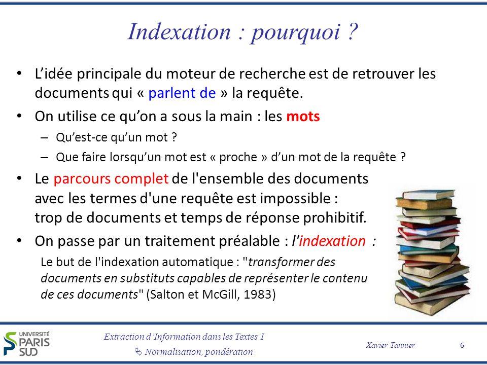 Indexation : pourquoi L'idée principale du moteur de recherche est de retrouver les documents qui « parlent de » la requête.