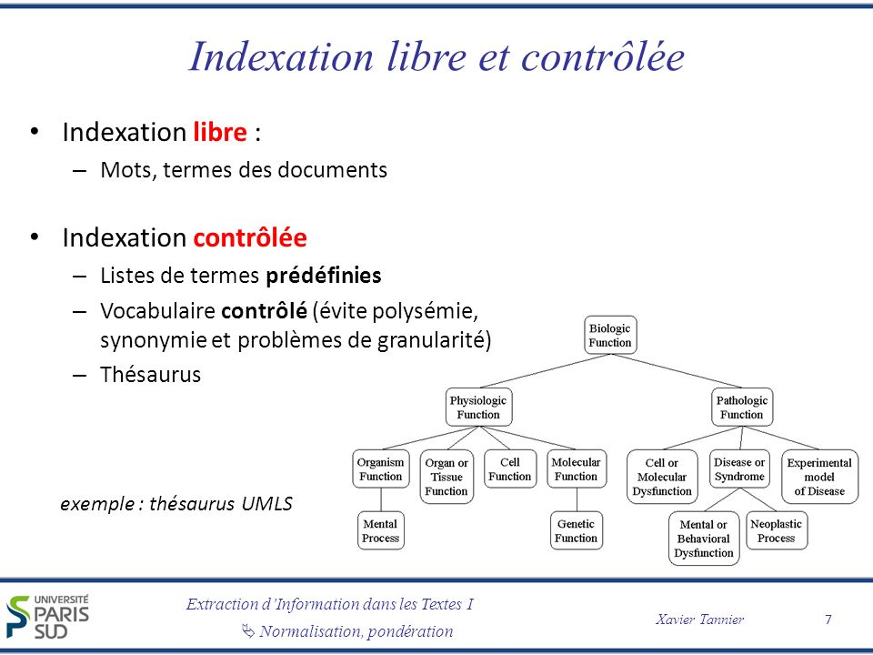 Indexation libre et contrôlée
