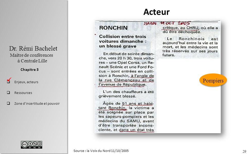 Acteur Pompiers  Source : la Voix du Nord 11/10/2005