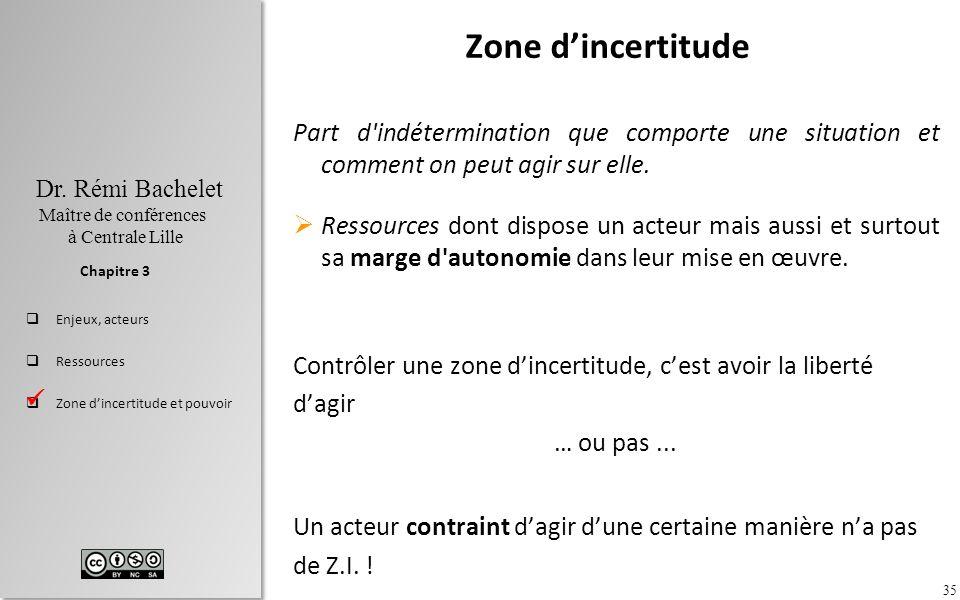 Zone d'incertitude Part d indétermination que comporte une situation et comment on peut agir sur elle.