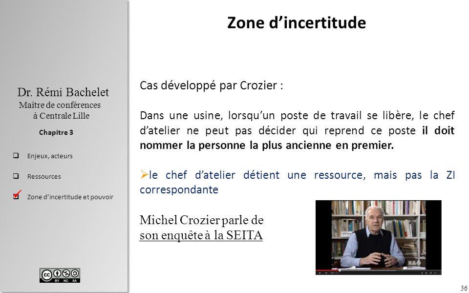 Zone d'incertitude Cas développé par Crozier : Michel Crozier parle de
