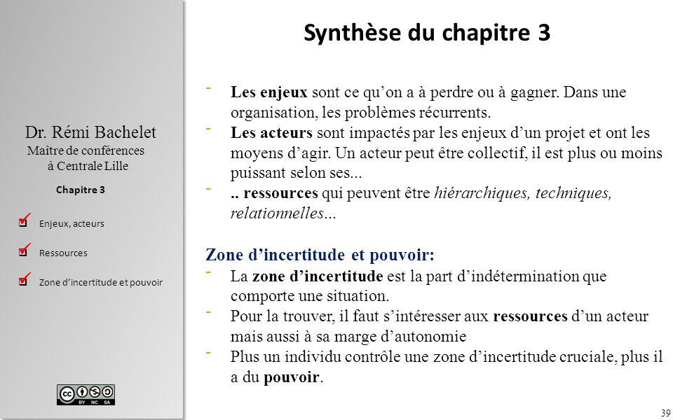 Synthèse du chapitre 3 Zone d'incertitude et pouvoir:   