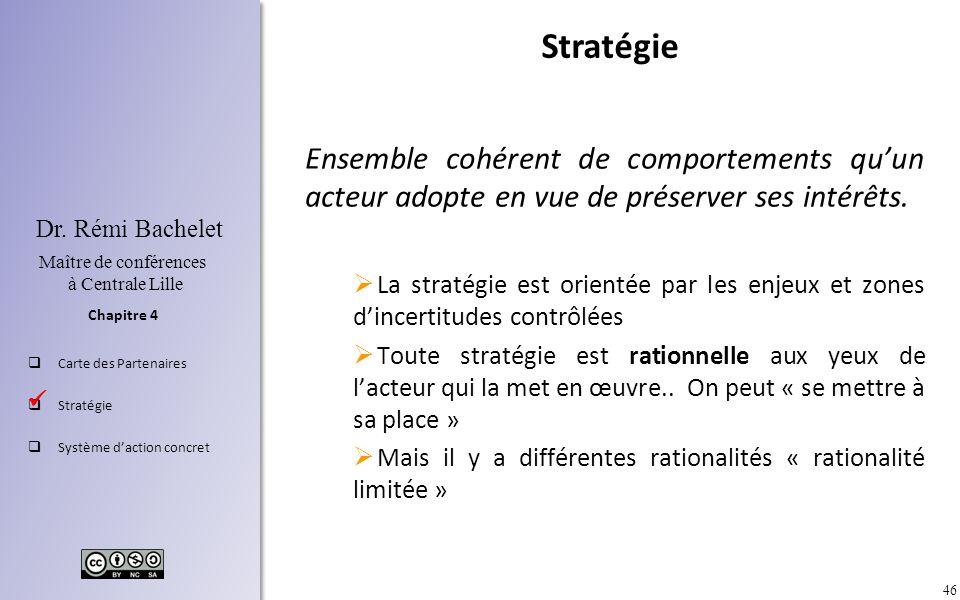 Stratégie Ensemble cohérent de comportements qu'un acteur adopte en vue de préserver ses intérêts.