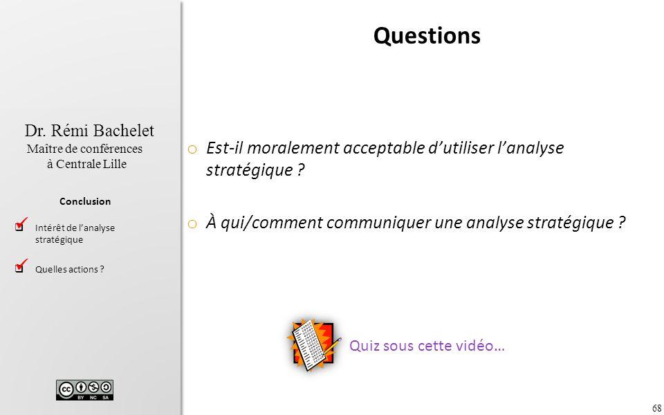 Questions Est-il moralement acceptable d'utiliser l'analyse stratégique À qui/comment communiquer une analyse stratégique