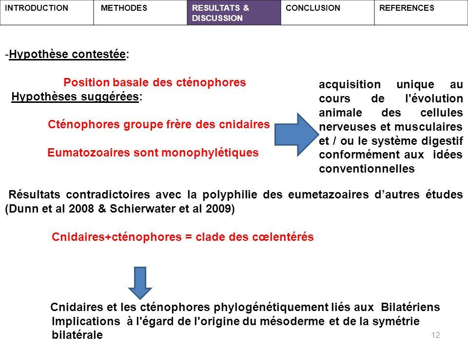 Position basale des cténophores Hypothèses suggérées: