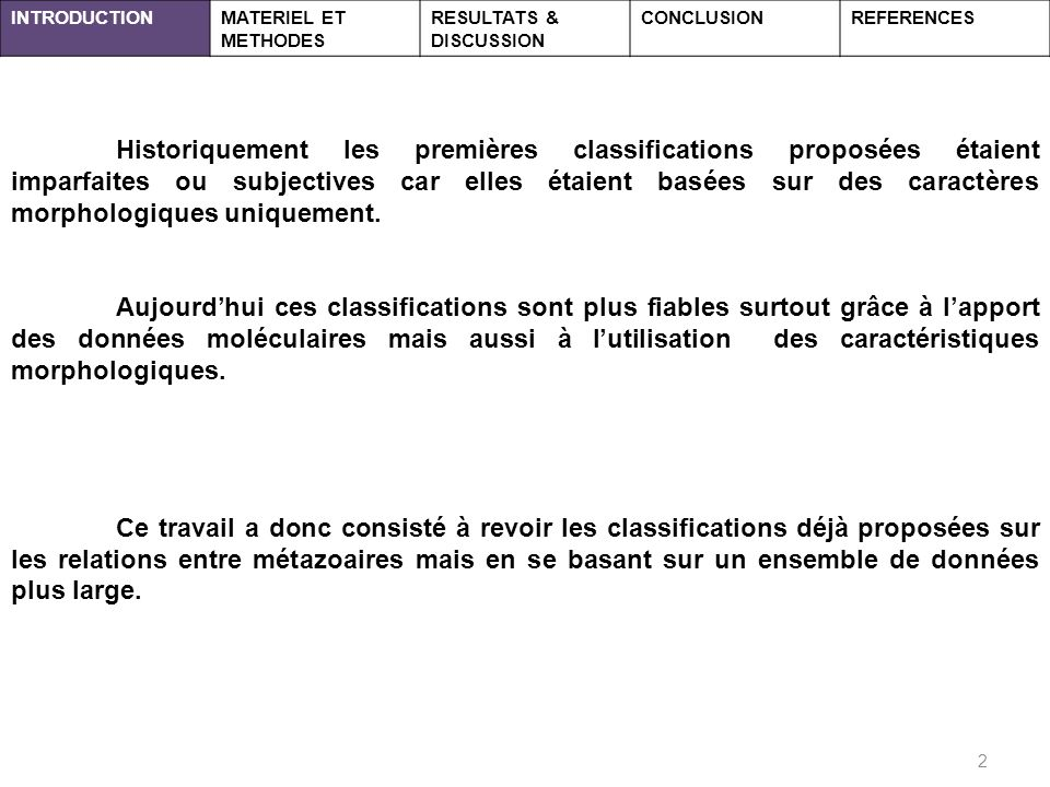 INTRODUCTION MATERIEL ET METHODES. RESULTATS & DISCUSSION. CONCLUSION. REFERENCES.