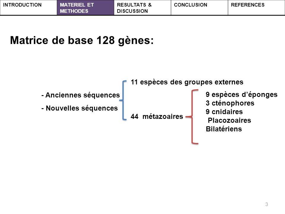 Matrice de base 128 gènes: - Anciennes séquences - Nouvelles séquences