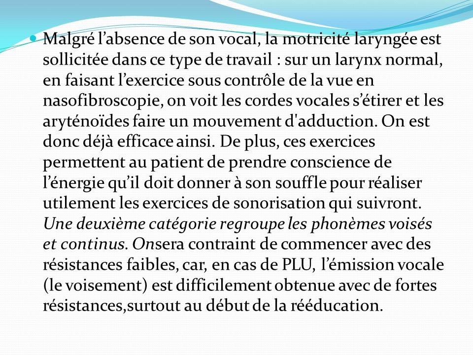 Malgré l'absence de son vocal, la motricité laryngée est sollicitée dans ce type de travail : sur un larynx normal, en faisant l'exercice sous contrôle de la vue en nasofibroscopie, on voit les cordes vocales s'étirer et les aryténoïdes faire un mouvement d adduction.