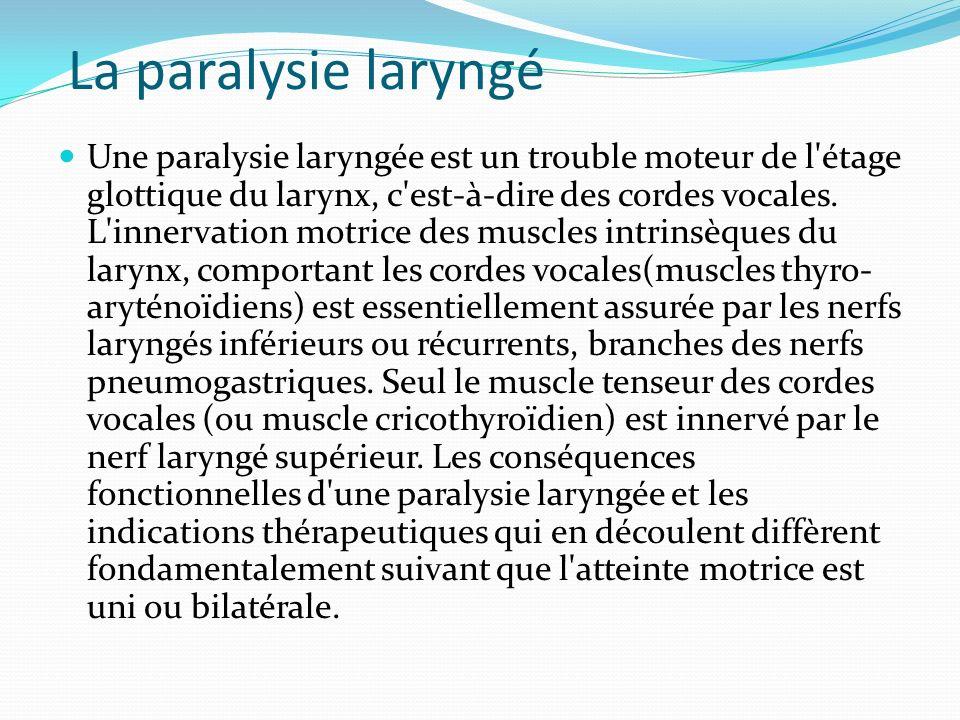 La paralysie laryngé