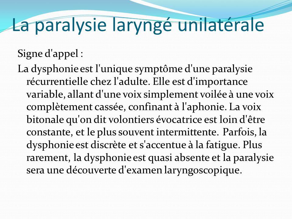 La paralysie laryngé unilatérale