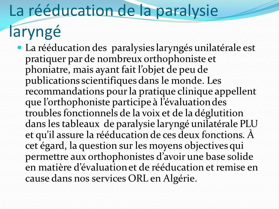 La rééducation de la paralysie laryngé
