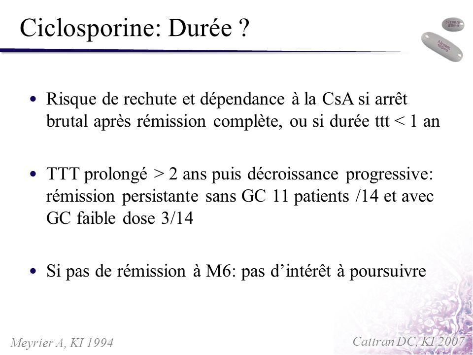 Ciclosporine: Durée Risque de rechute et dépendance à la CsA si arrêt brutal après rémission complète, ou si durée ttt < 1 an.