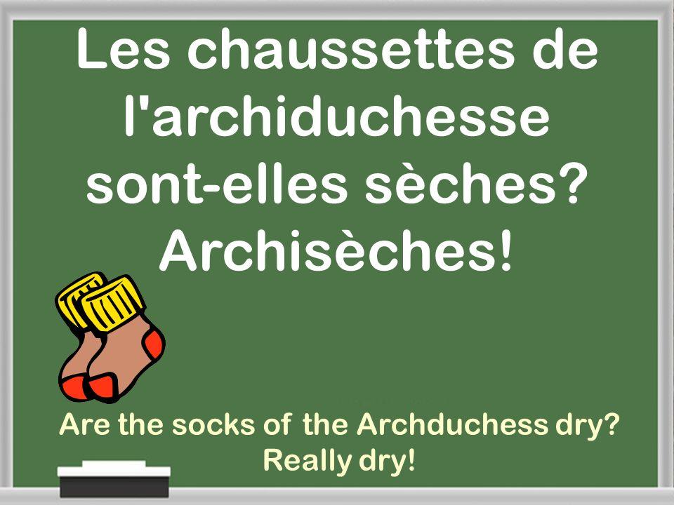 Les chaussettes de l archiduchesse sont-elles sèches Archisèches!
