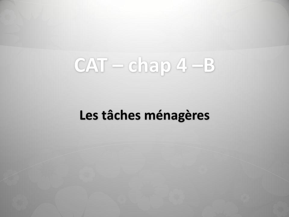 CAT – chap 4 –B Les tâches ménagères