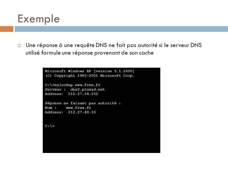 Exemple Une réponse à une requête DNS ne fait pas autorité si le serveur DNS utilisé formule une réponse provenant de son cache.