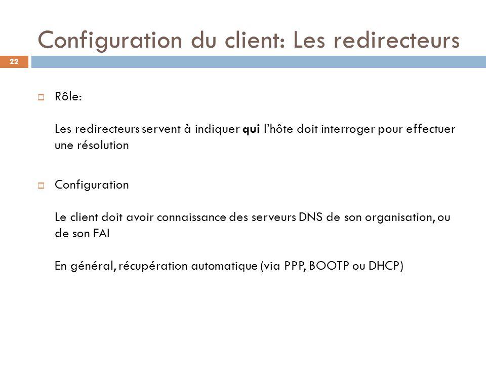 Configuration du client: Les redirecteurs