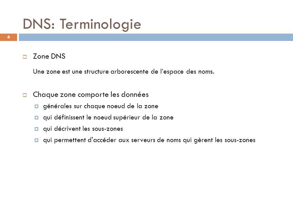 DNS: Terminologie Zone DNS Une zone est une structure arborescente de l'espace des noms. Chaque zone comporte les données.